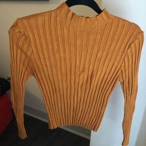 Gold Forever 21 Knit Cropped Turtle Neck